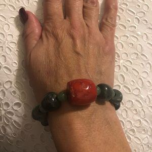 Bracelets with green jasper and malachite &  coral